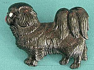 Vintage Back Plastic Pekingese Pin (Image1)