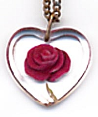 Vintage Lucite Heart Pendent with Carved Red Rose (Image1)