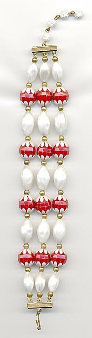 Vintage Red & White Plastic Bracelet (Image1)
