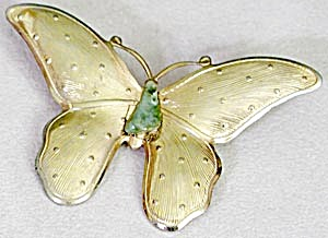 Vintage Large Gold Butterfly with Green Stone Body Pin (Image1)