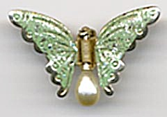 Vintage Glreen Clip Butterfly Pin (Image1)