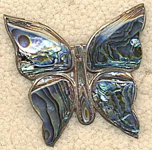 Vintage Sterling and Abalone Butterfly Pin (Image1)