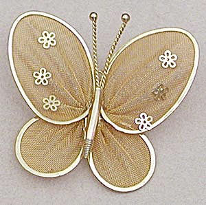 Vintage Gold Mesh Butterfly Pin (Image1)