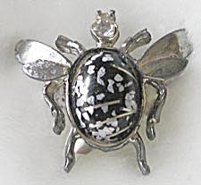 Vintage Black Beetle Pin (Image1)