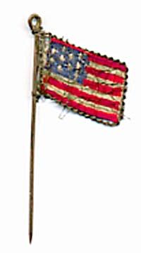Vintage American Silk Flag Lapel Pin (Image1)