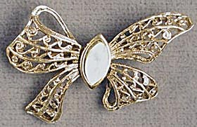 Vintage Goldtone Lacy Bow Pin with Faux Opal (Image1)