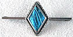Vintage Blue Butterfly Wing Sterling Bar Pin (Image1)