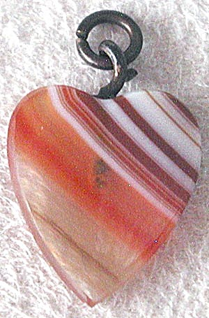 Vintage Banded Agate Small Heart Shaped Pendant (Image1)