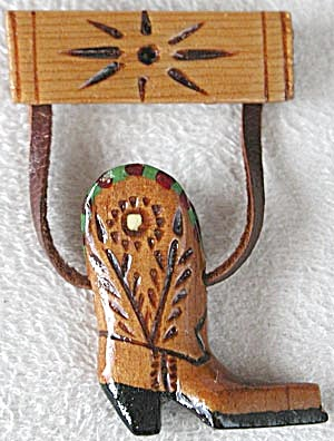 Vintage Wooden Hand Carved & Painted Cowboy Boot Pin (Image1)