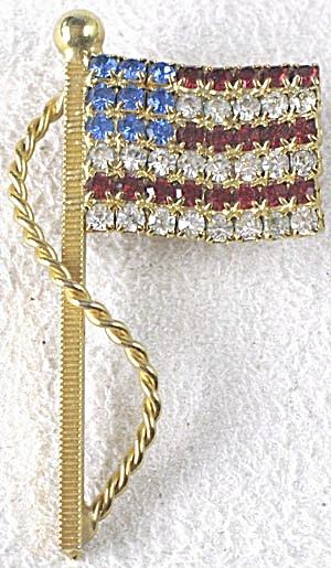 Vintage American Flag Rhinestone Pin (Image1)