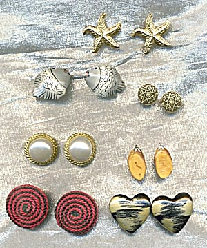 7 Pair Of Vintage Pierced Earrings