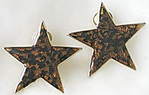 Star Clip Earrings with faux Tortoise Shell Finish (Image1)