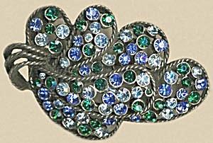 Vintage Large Kramer Blue & Green Rhinestone Pin (Image1)