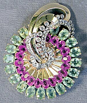 Vintage Large Mazer Art Deco Pink & Green Stone Brooch (Image1)