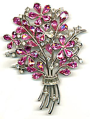 Vintage Large Trifari Pink Stone Flower Pin (Image1)