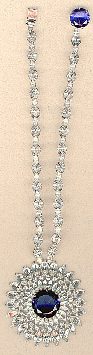 Vintage Trifari Blue and White Rhinestone Necklace (Image1)