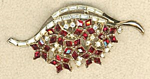 Vintage Large Trifari Red And Clear Rhinestone Pin