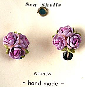 Vintage Lavender Flower Seashells Earrings (Image1)