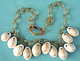 Vintage Celluloid And Cowrie Shell Necklace