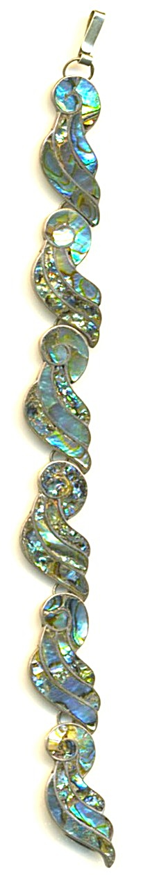 Vintage Mexico Sterling Silver Abalone Bracelet