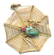 Vintage Web Of Gold - Turquoisel Spider Pendant