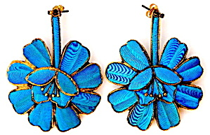 Vintage Kingfisher Feather Large Flower Earrings