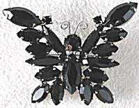 Vintage Jet Black Glass Butterfly Pin (Image1)
