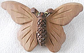 Vintage Wooden Moth/Butterfly Pin (Image1)