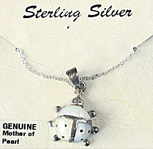 Lady Bug Sterling Silver & Mother of Pearl Necklace (Image1)