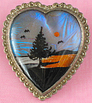 Vintage Butterfly Wing Heart Pin