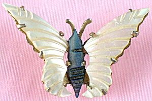 Vintage Mother Of Pearl Butterfly Pins
