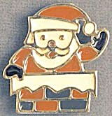 Vintage Signed Santa Coming Out Of Chimney Pin