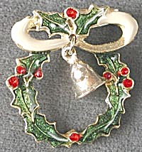 Christmas Wreath with Moveable Bell Pin (Image1)