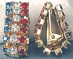 Red White and Blue Rhinestone Flag Earrings (Image1)