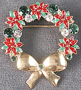 Jeweled & Enamel Wreath Pin (Image1)