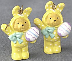 Bear Dressed in Bunny Outfit Pierced Earrings (Image1)