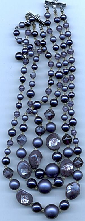 Vintage Sades Of Purple 3 Strand Glass Beaded Chocker (Image1)