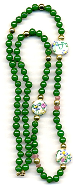 Vintage Green & White Venetian Glass Necklace