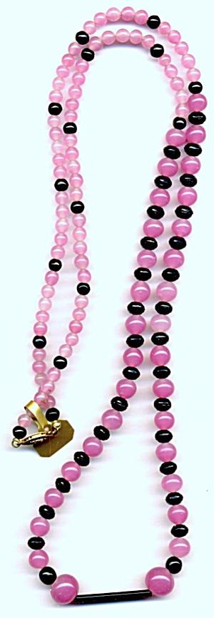 Art Deco Pink & Black Neccklace (Image1)