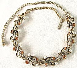 Vintage Orange Rhinestone & Pearl Necklace (Image1)