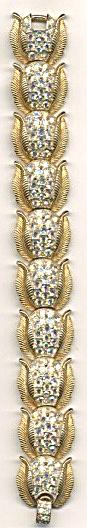 Vintage Crown Trifari Gold Tone Rhinestone Bracelet (Image1)
