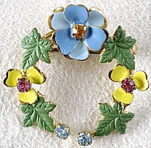 Pastel Enamel & Rhinestone Flower Signed Pin (Image1)
