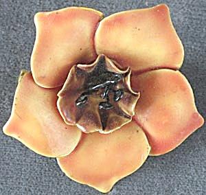 Vintage Sandor Orange Enamel Flower Brooch (Image1)