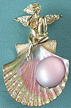 Signed Angel's Rise from the Ocean Pendant Pin (Image1)