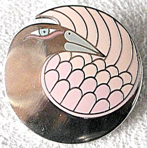 "Vintage Laurel Burch ""Mynah Bird"" Pin Pink En (Image1)"