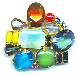 Multicolor Large Stone Brooch (Image1)