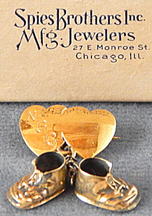 Vintage Baby Shoes & Heart Pin Gold Over sterling silve