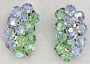Vintage Blue and Green Crystal Earrings (Image1)