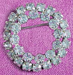 Vintage Ice Blue Rhinestone Double Circle Pin (Image1)