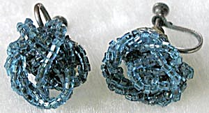 Vintage Turquoise Glass Beaded Earrings (Image1)